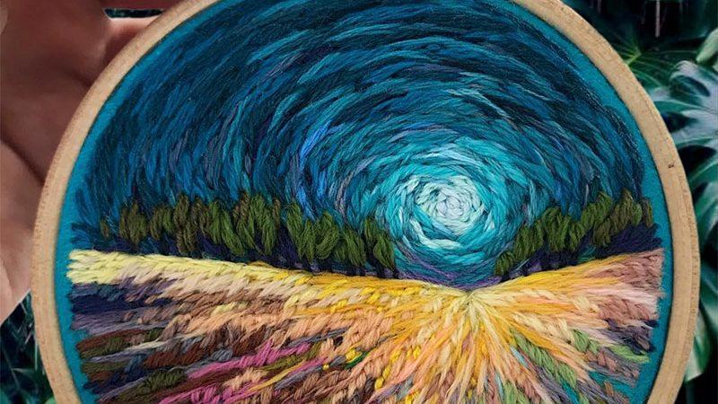 Las asombrosas pinturas bordadas de Vera Shimunia